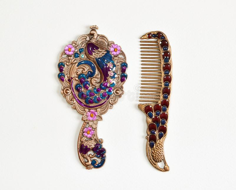Arabic designed Hand Mirror for Woman. Vintage Style stock images