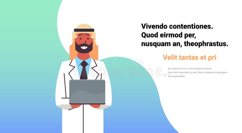 Arabic doctor hold laptop computer online consultation medical clinic arab man worker hospital flat horizontal copy. Space vector illustration vector illustration