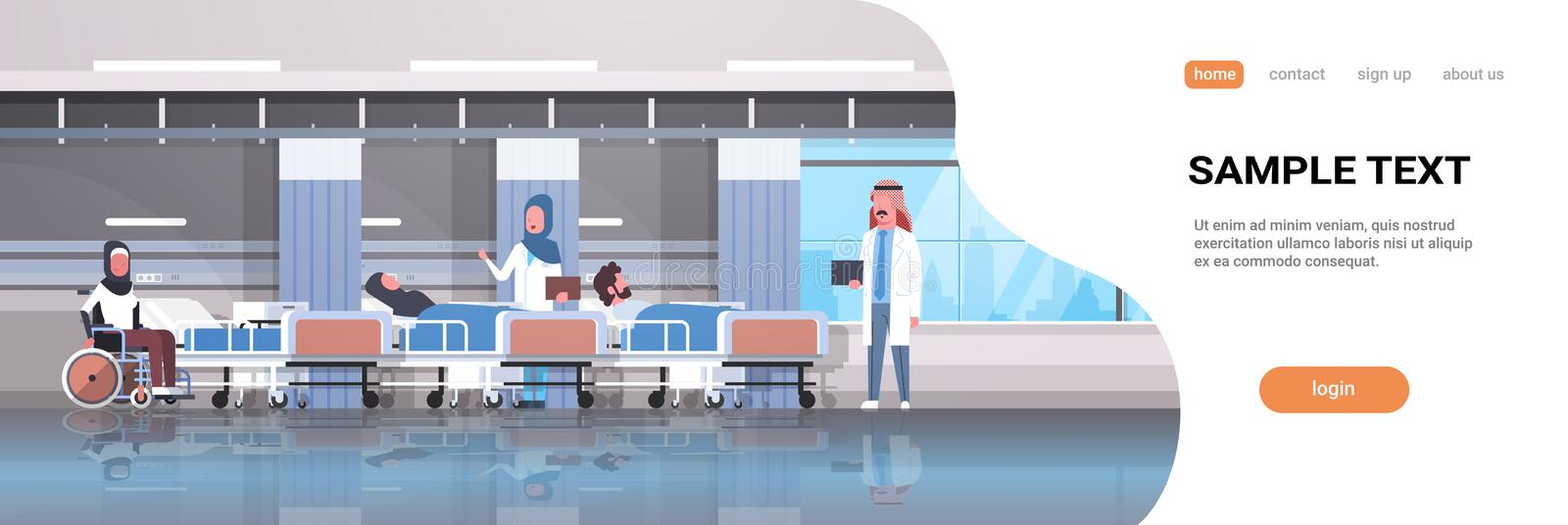 Arabic doctors team visiting disabled arab patients sitting wheelchair lying bed intensive therapy ward healthcare stock illustration
