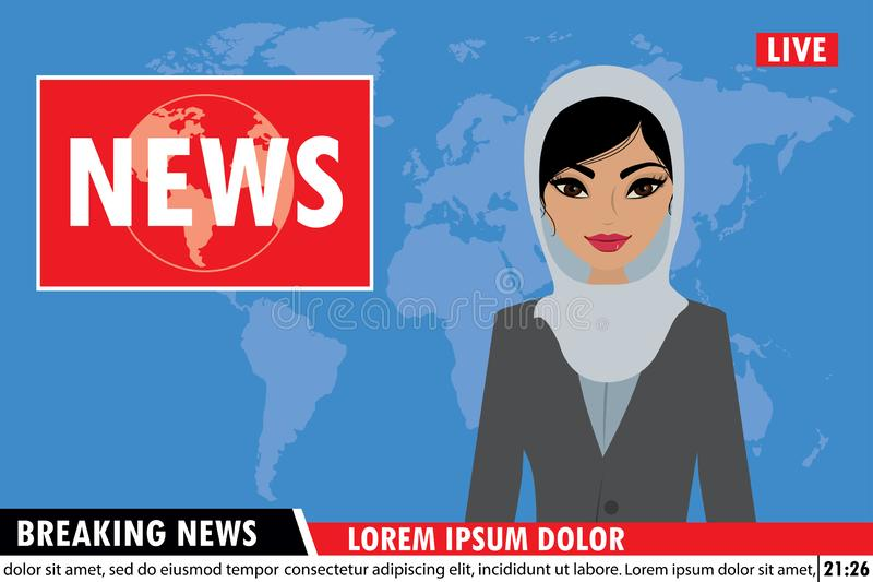Arabic female news anchor on tv breaking news background. Flat vector illustration royalty free illustration