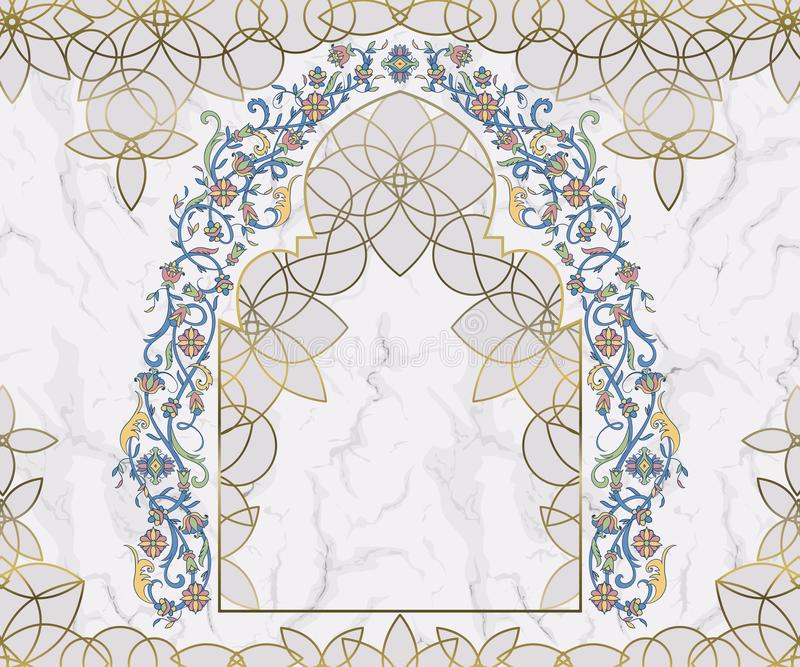 Arabic floral arch. Traditional islamic ornament on white marble background. Mosque decoration design element. royalty free illustration