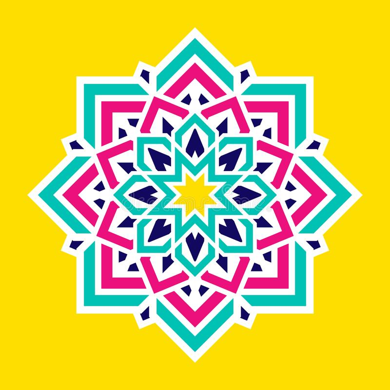 Arabic colorful flower. Islamic mandala vector design. Colorful eastern floral symbol. Geometric round decorative element. Modern vector illustration