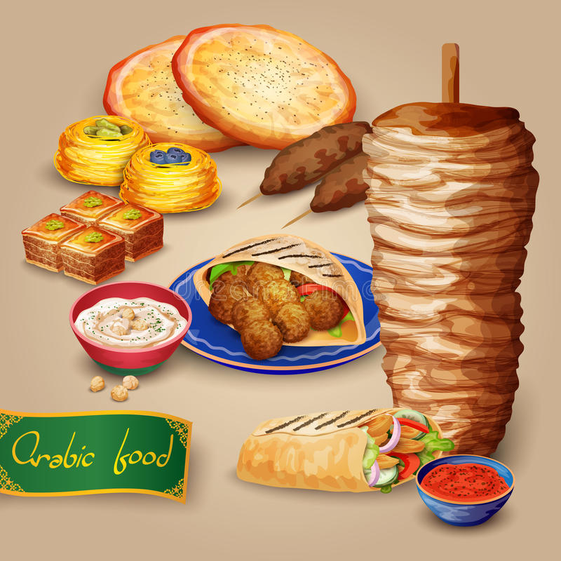 Arabic Food Set. With shawarma kebab hummus and pita cartoon vector illustration royalty free illustration