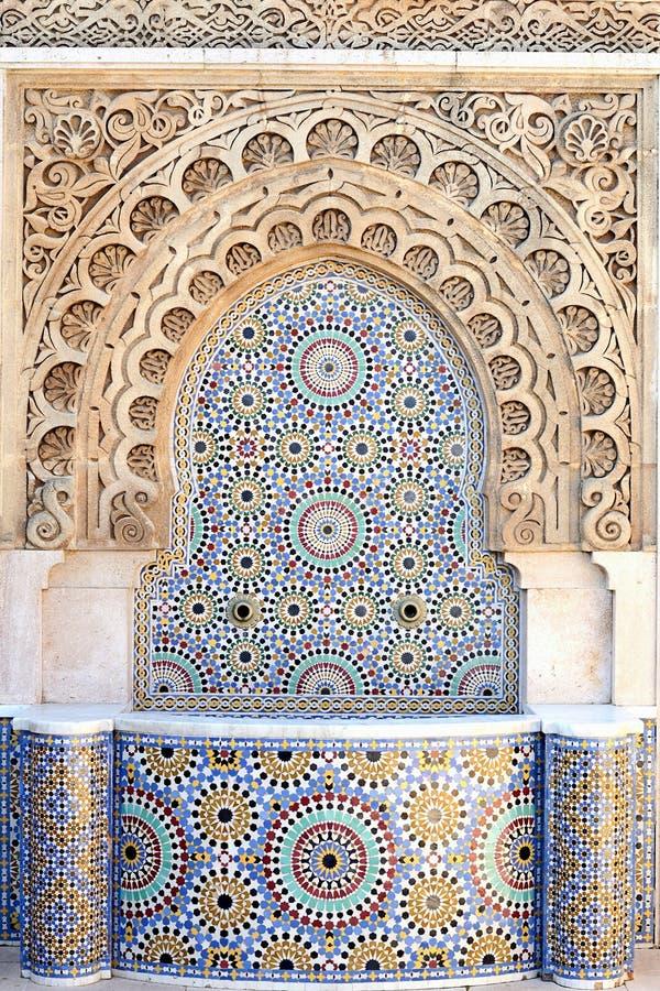 Arabic fountain and mosaic royalty free stock photo