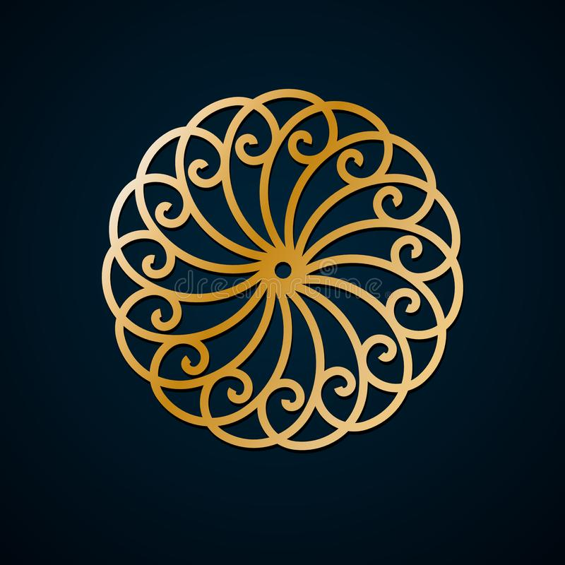 Arabic geometric, floral round ornament, pattern of gold lines. Mandala. Decorative gold pattern, oriental motif. Design element vector illustration