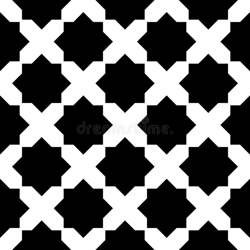 Arabic geometric tile black and white hipster fashion pillow pattern. Abstract arabic geometric tile black and white hipster fashion pillow pattern stock illustration