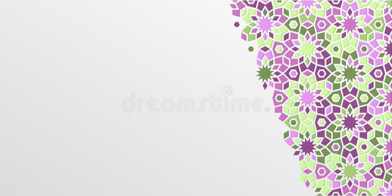 Arabic girih design background for Ramadan Kareem. Islamic ornamental colorful detail of mosaic. Greeting Ramadan card vector illustration