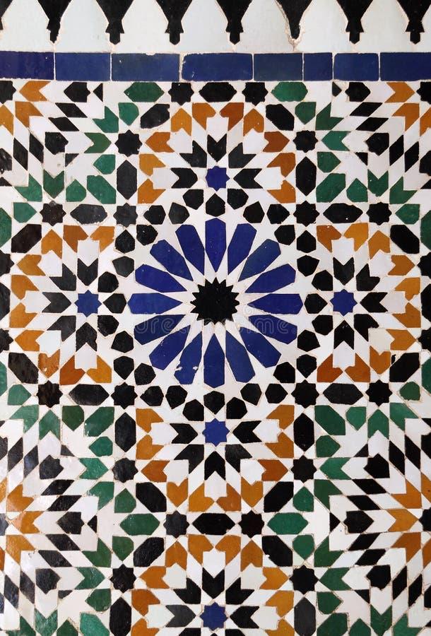 Arabic glazed tiles. Morocco, Typical historical glazed mosaic ceramic tiles with Islamic pattern stock photos