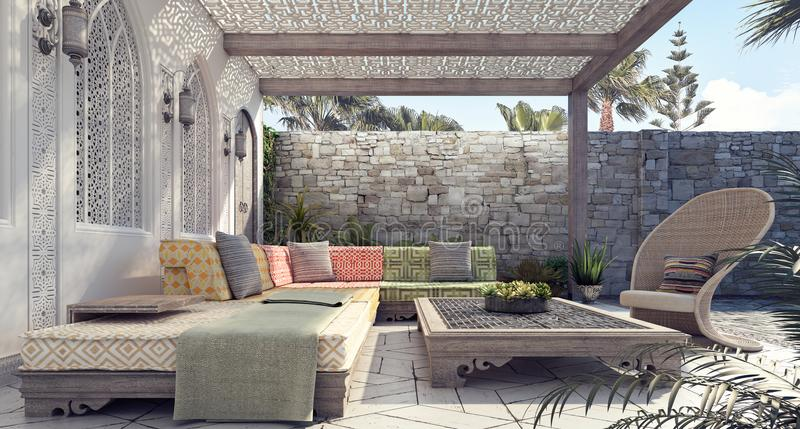 Arabic Home garden exterior and patio. 3D Rendering stock photos
