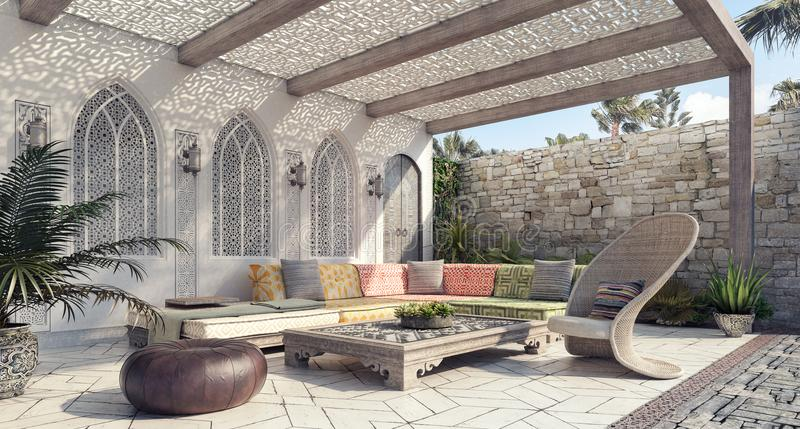 Arabic Home garden exterior and patio. 3D Rendering stock image