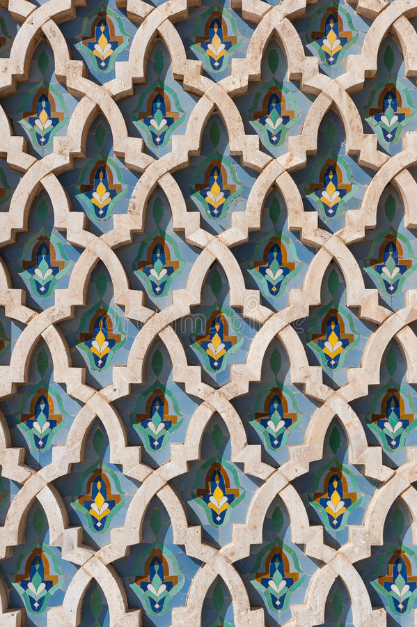 Arabic islam wall texture Casablanca Morocco. Traditional Islamic mosaic on the wall of the Hassan II mosque in Casablanca, Morocco. Arabic repeating patterns in royalty free stock images