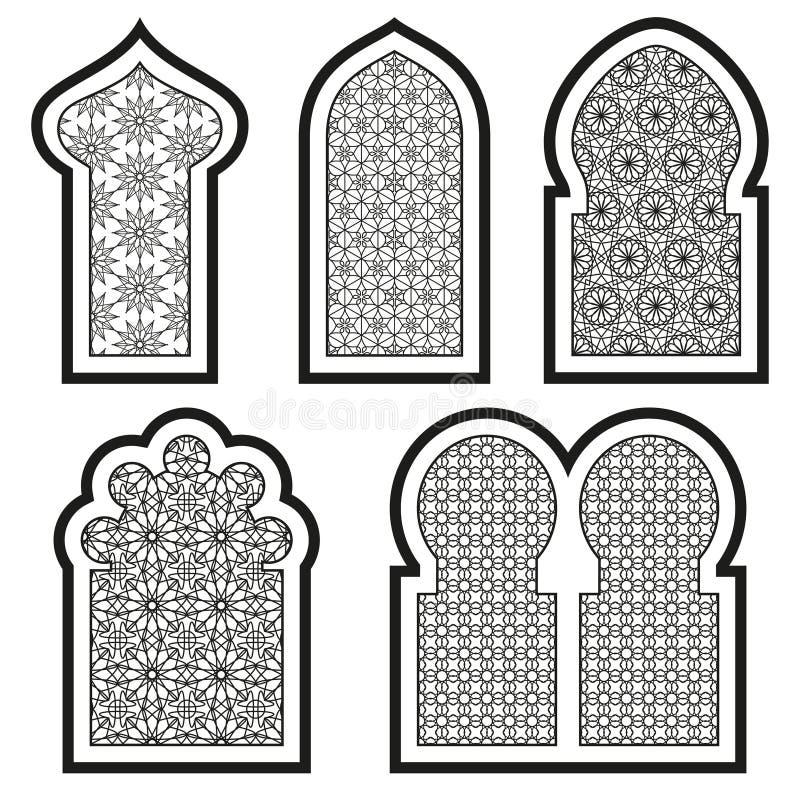 Arabic or islamic windows set stock vector illustration for Window design vector