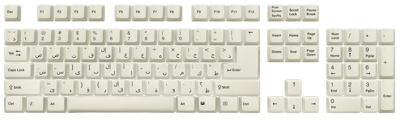 Arabic keyboard White. Arabic keyboard. Top view of keys, from a white classic desktop keyboard, isolated on white. Full alphabet and numbers. High resolution stock photos
