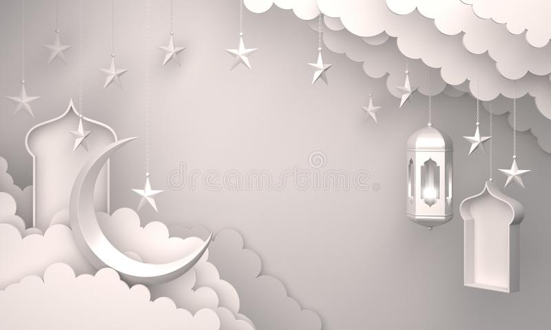 Arabic lantern, cloud, crescent star, window on white background copy space text. Design creative concept for islamic celebration day ramadan kareem or eid al stock illustration