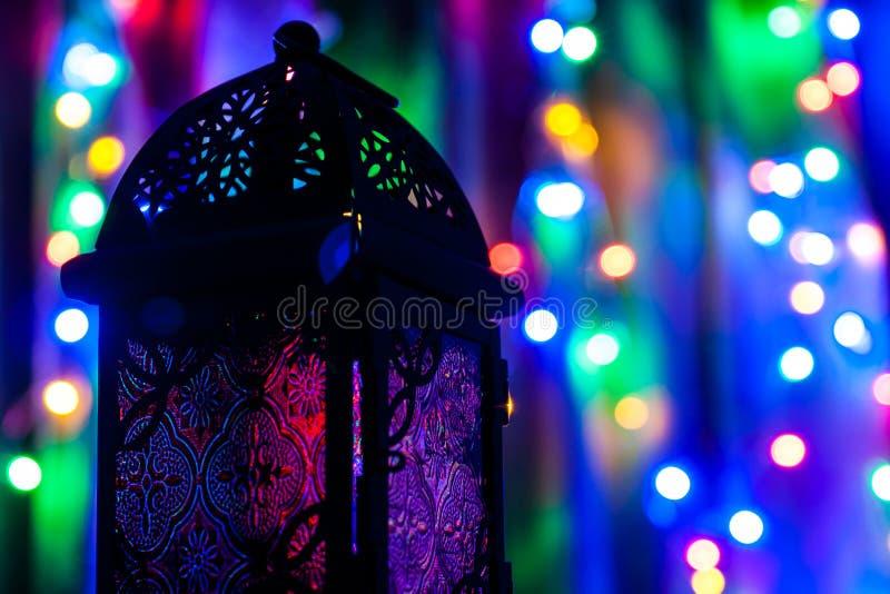 Arabic lantern on colorful light background. Ramadan, Eid concept background royalty free stock image