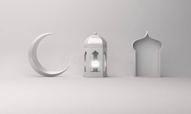 Arabic lantern, crescent moon, window on white background copy space text. Design creative concept for islamic celebration day ramadan kareem or eid al fitr vector illustration