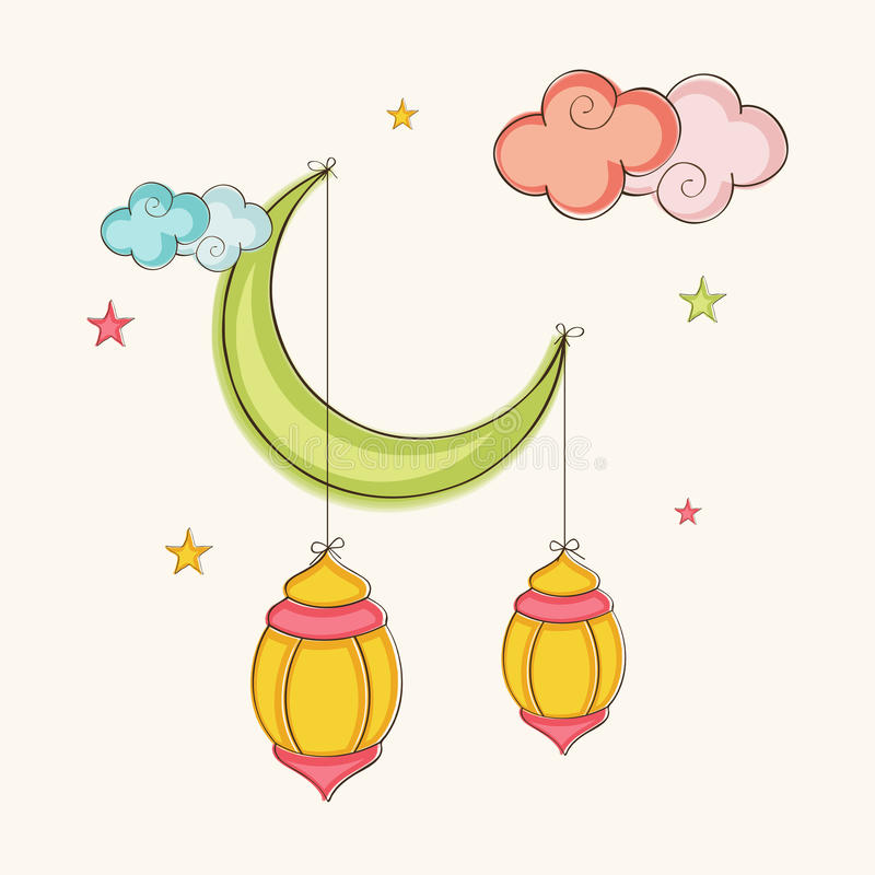 Download Arabic Lanterns Hanging By Moon For Ramadan Kareem Celebration Stock Illustration