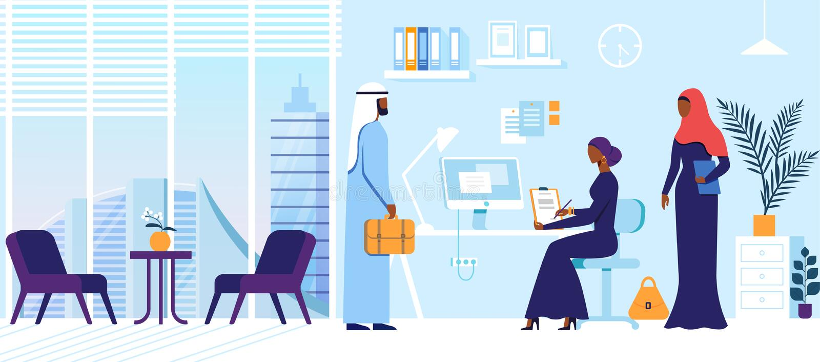 Arabic Male and Female Charcatres Meet in Office. Business People Characters in Arabic Dresses in Office. Man with Suitcase Stand at Table with Woman in Abaya royalty free illustration