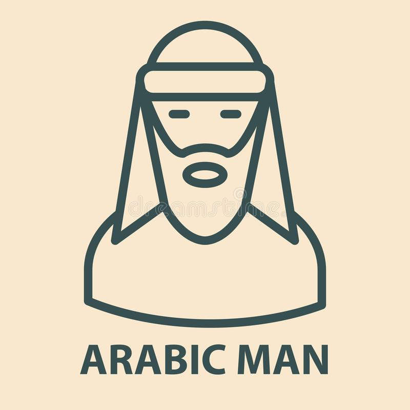 Arabic man in linear style vector illustration