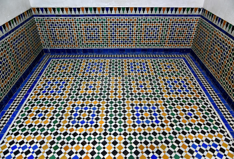 Arabic Marble Floor Mosaic Tile Background Bahia Palace Floor Stock