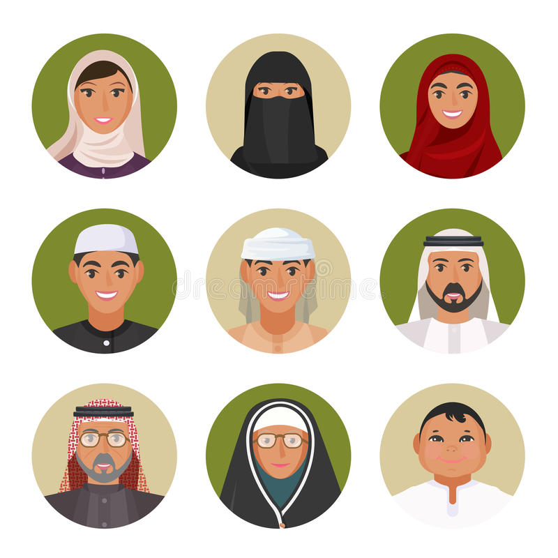 Arabic men and women of all ages portraits in circles stock illustration