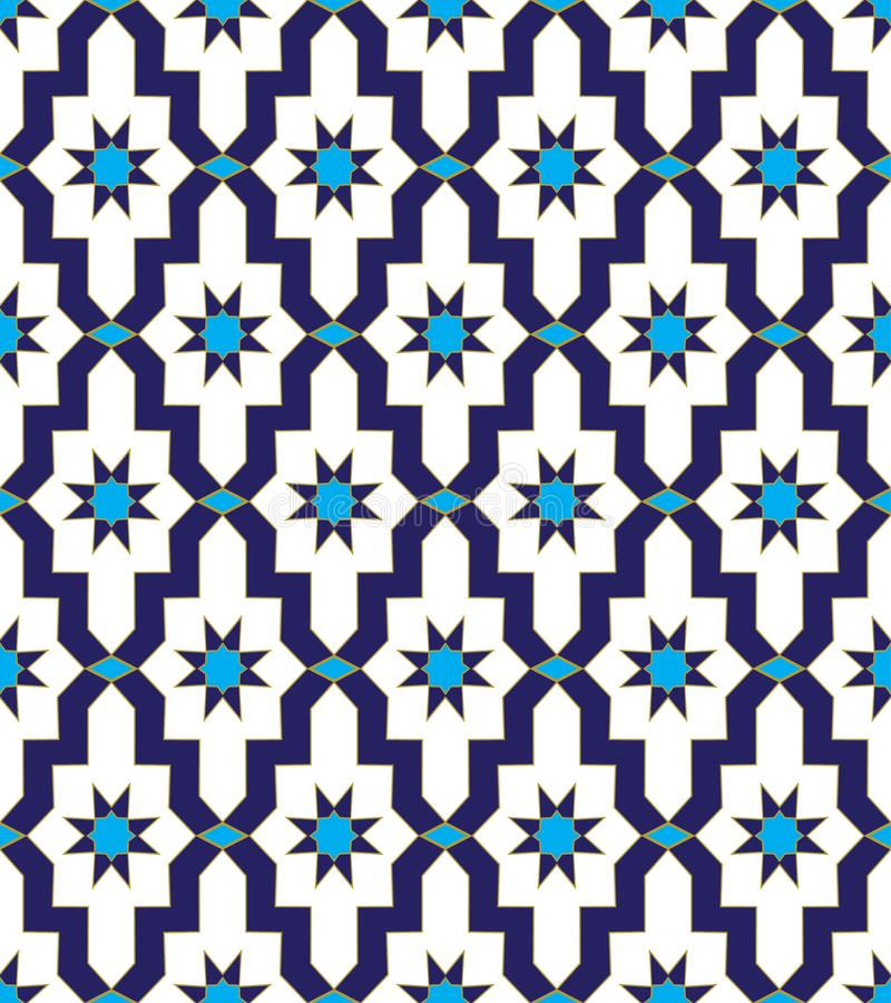 Arabic mosaic blue star ornament pattern stock illustration