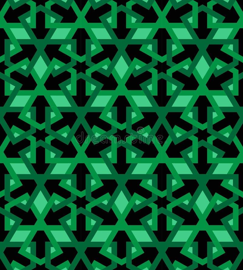 Arabic mosaica black green tile royalty free illustration