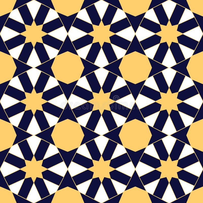 Arabic mosaica blue gold vector mosaic pattern royalty free illustration