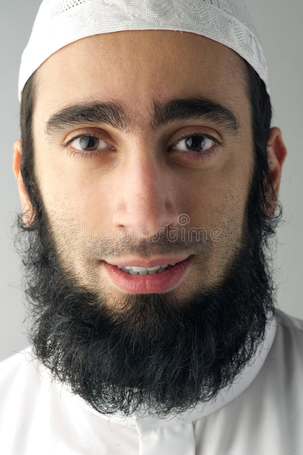 Arabic Muslim man with beard portrait stock photo