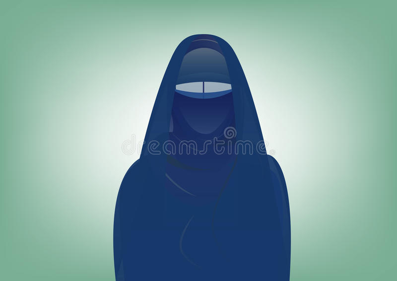 Arabic muslim woman in burka , isolated. Or green background stock illustration