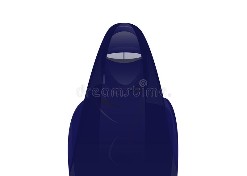 Arabic muslim woman in burka , isolated. Or green background vector illustration