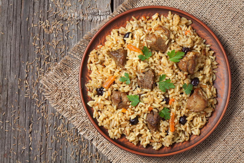 Arabic national rice food called pilaf cooked with stock photography
