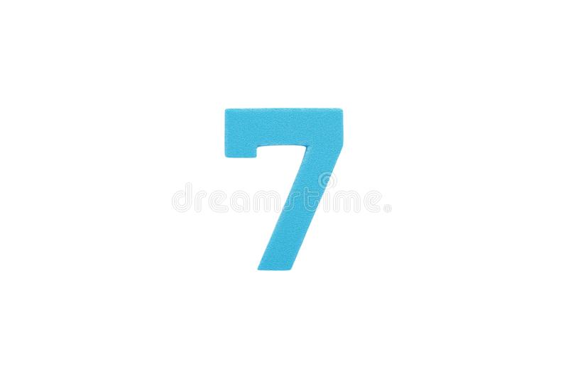 Arabic number 7 symbol of sponge rubber isolated over white royalty free stock photography