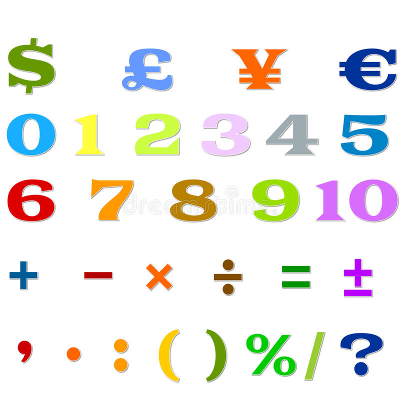 Arabic Numbers, Arithmetic operations and currencies symbols stock image