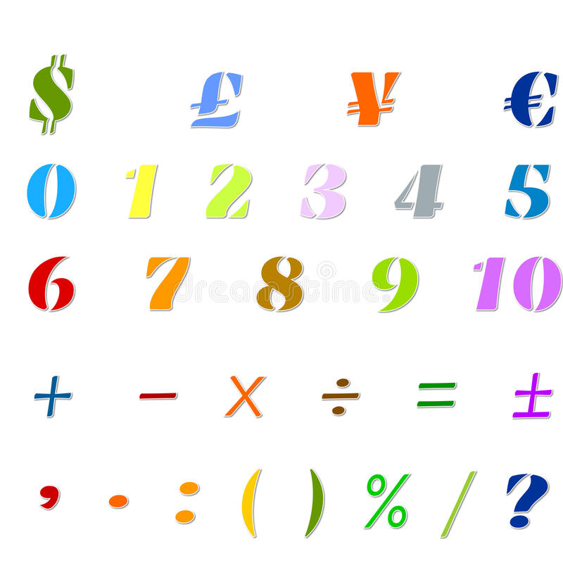 Arabic Numbers, Arithmetic operations and currencies symbols royalty free stock photography