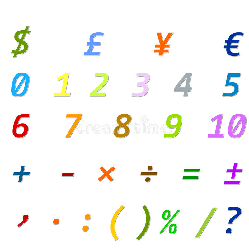 Arabic Numbers, Arithmetic operations and currencies symbols royalty free stock images