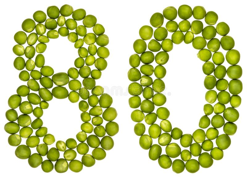 Arabic numeral 80, eighty, from green peas, isolated on white ba stock photo