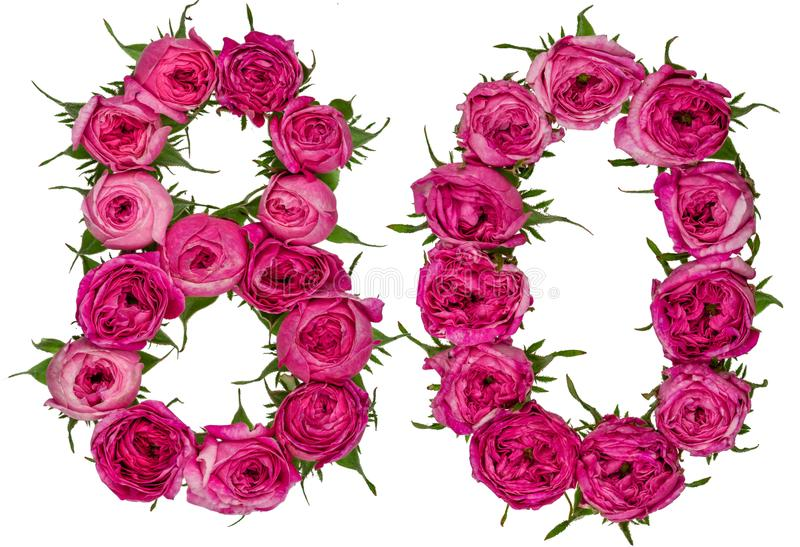 Arabic numeral 80, eighty, from red flowers of rose, isolated on. White background stock images