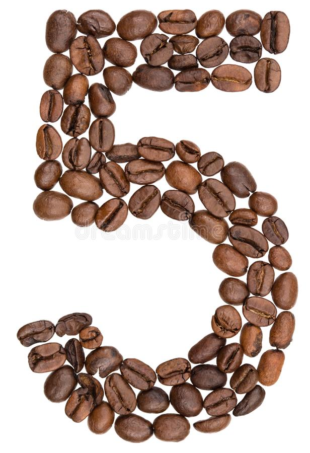 Arabic numeral 5, five, from coffee beans, isolated on white background stock photography