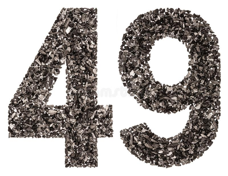Arabic numeral 49, forty nine, from black a natural charcoal, is. Olated on white background stock photo