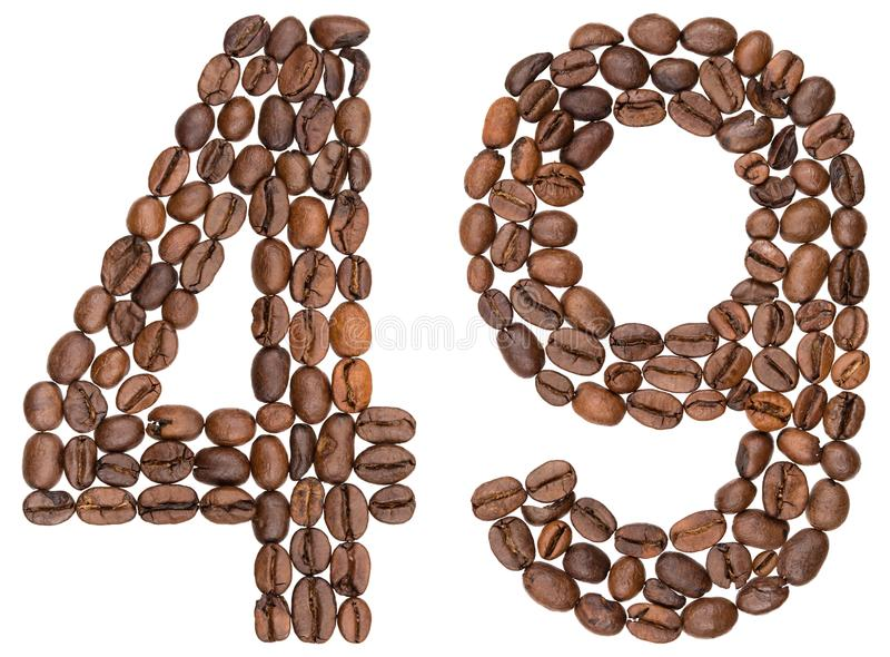 Arabic numeral 49, forty nine, from coffee beans, isolated on white background stock images