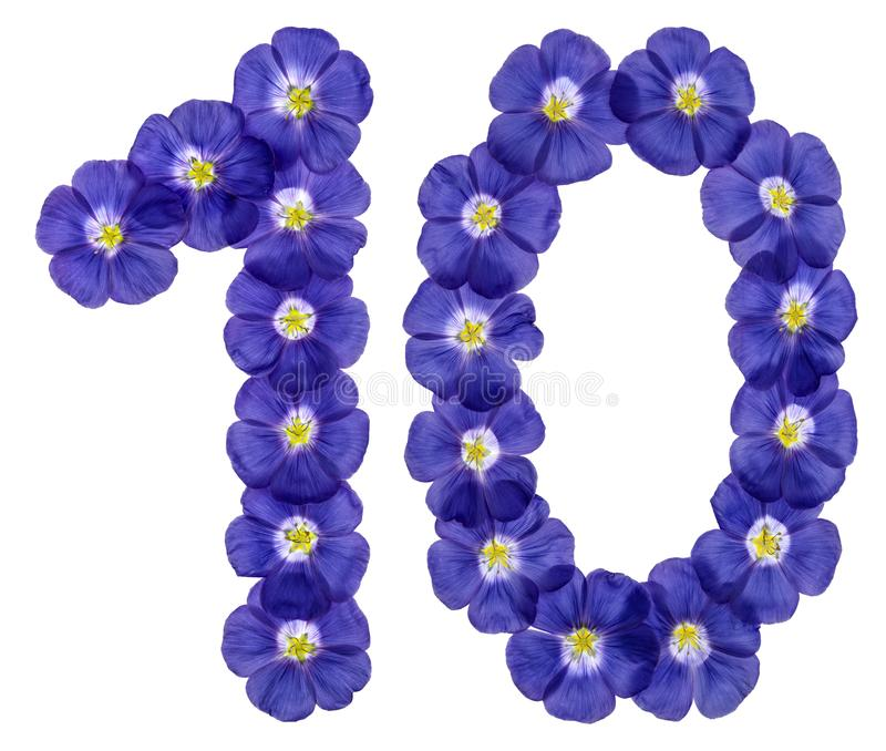 Arabic numeral 10, ten, from blue flowers of flax, isolated on w stock photo