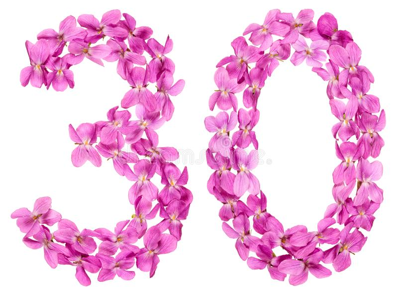 Arabic numeral 30, thirty, from flowers of viola, isolated on wh stock photography