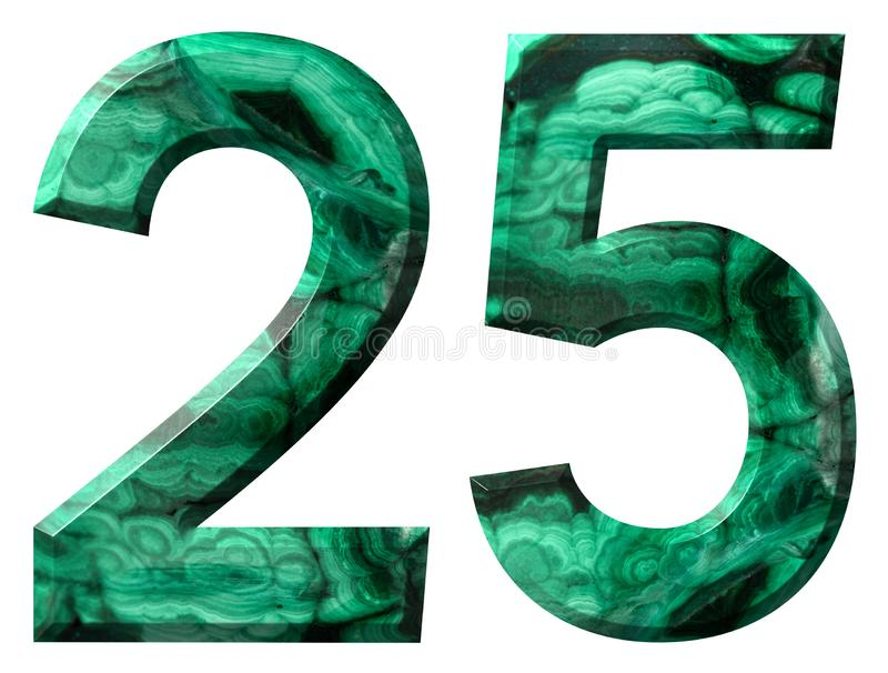Arabic numeral 25, twenty five, from natural green malachite, isolated on white background.  stock illustration