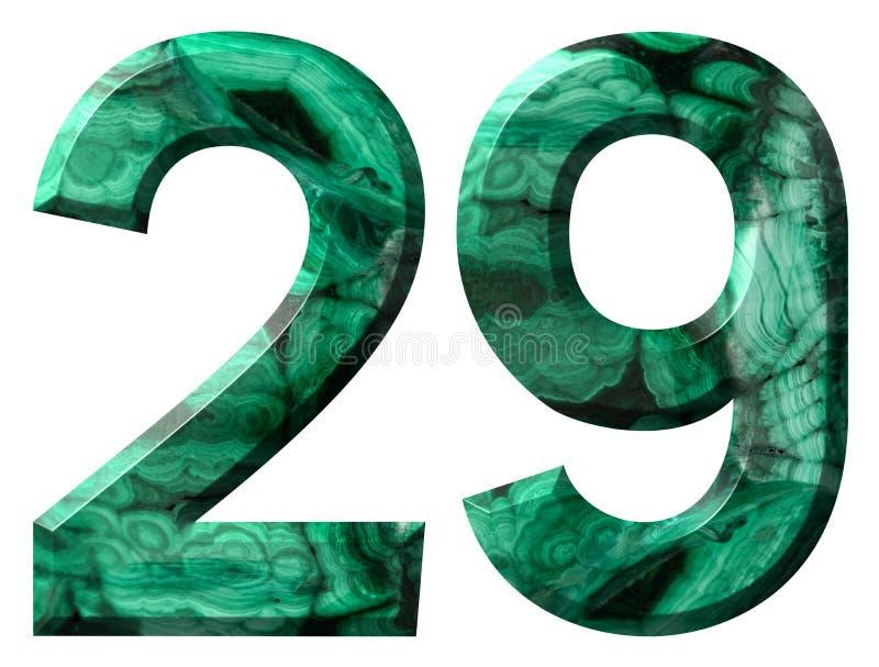 Arabic numeral 29, twenty nine, from natural green malachite, isolated on white background.  stock illustration