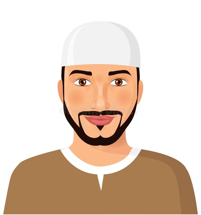 Download Arabic Oman Man Face Avatar Character Image With Beard Vector Il Stock Vector - Illustration of head, face: 103779884