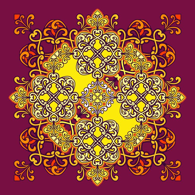 Arabic ornament mandala. Arabic ornament background Oriental mandala ethnic Amulet Abstract floral pattern element for recreation, kaleidoscope, medallion, yoga royalty free illustration
