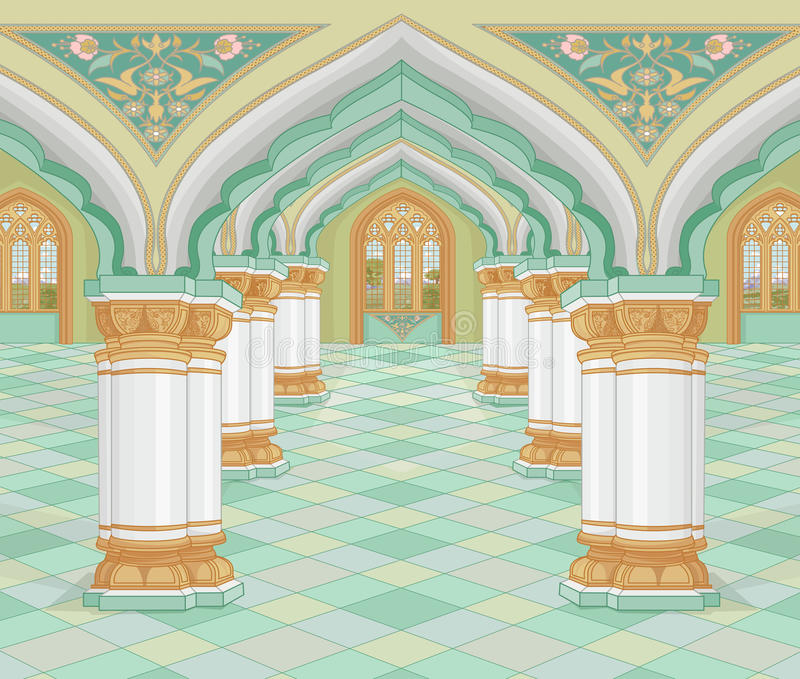 Arabic Palace. Illustration of medieval Arabic Palace stock illustration