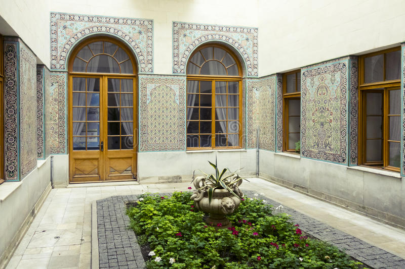 Arabic patio of Livadia Palace, Crimea. Chambers of Livadia Palace in Crimea. Summer retreat of russian royal family. The Yalta Conference was held there in 1945 stock images