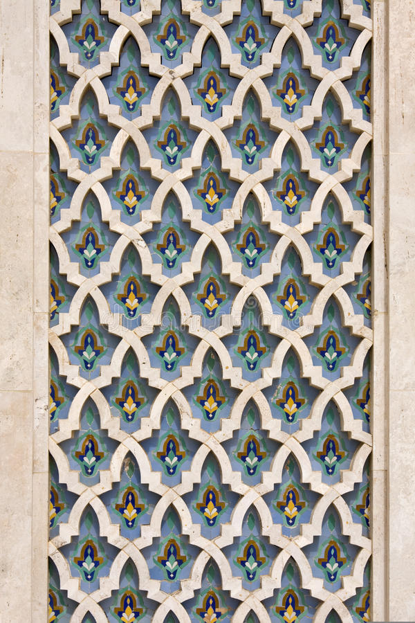 Arabic pattern. On the walls of the great mosque Hassan II in Casablanca stock image